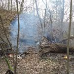 burning fire at missile ridge disc golf course
