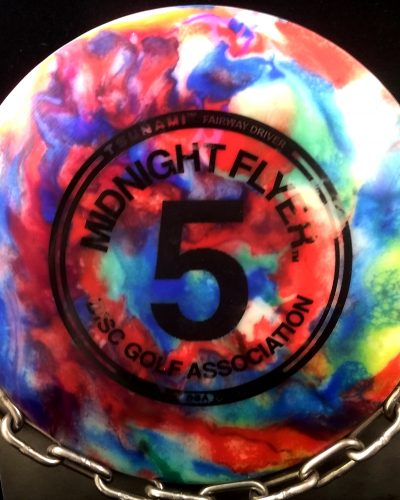DGA Tripps Fly Dye TSUNAMI Midnight Flyer Stamped Glow Golf Disc